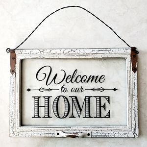 """Hanging Glass Pane """"Welcome to our Home"""""""